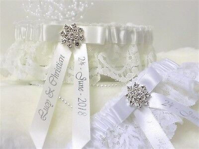 Luxury Personalised Garter. White or Ivory with Diamante jewel & Silver print