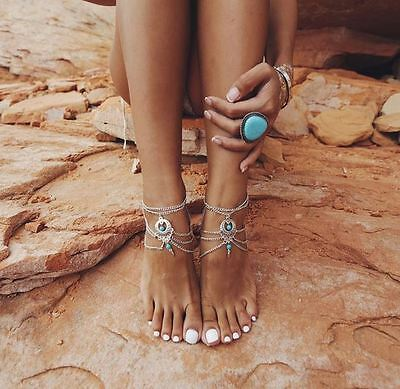Turquoise Silver Pl Anklet Ankle Bracelet Chain Beach Flip Flops Foot Jewellery