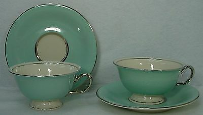 "CASTLETON china CASTLETON TURQUOISE pattern CUP & SAUCER 2-1/4"" Set of TWO (2)"