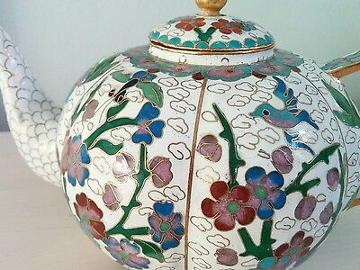 Chinese cloisonne white vintage decorative teapot