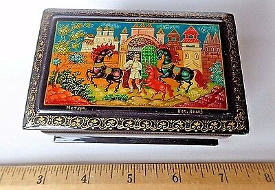 "Russian Mstera Lacquer Box ""Hunchback Horse"" hand painted miniature fable Signed"