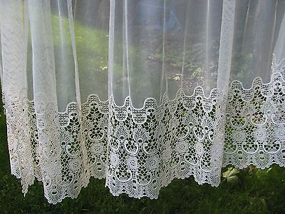 VICTORIAN SCHIFFLI GUIPURE LACE Curtain Net Panel LOT 2 Estate Find