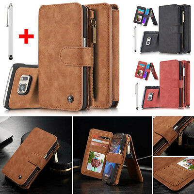Removable Leather Wallet Case Cover Purse + Stylus Pen For iPhone Samsung S6/S7