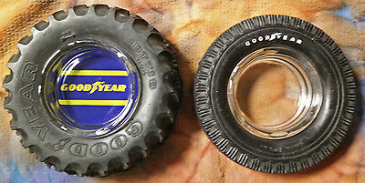 Two Vintage Goodyear Tire Ashtrays DT710 and Super Cushion