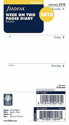 2018 Filofax Personal Size Week on Two Pages Calendar - (18-68421) - English