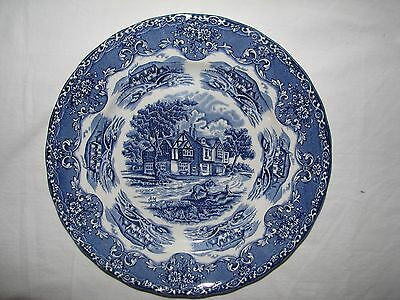 """Grindley ENGLISH COUNTRY INNS Blue & White Transferware 10"""" Dinner Plate"""