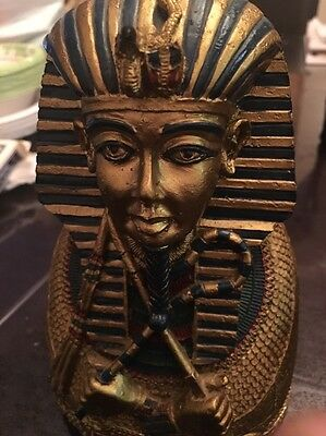 Egyptian King Tut Money Bank Statue Sculpture Vintage Rare.  Really Cute