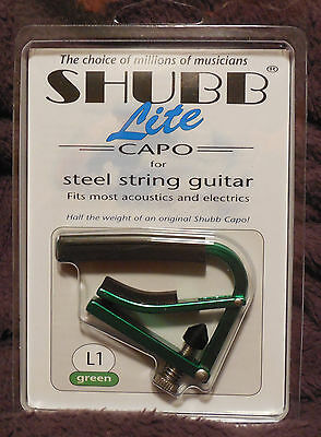 Shubb L1 Lite for Steel String in Green Aluminum NIB FREE Shipping