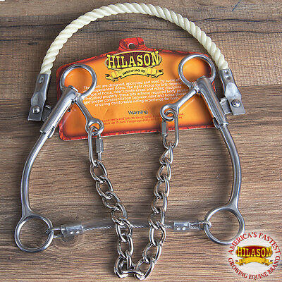 "Hilason Western Horse Mouth Stainless Steel Rope Nose Hackamore Bit W/ 7"" Cheeks"