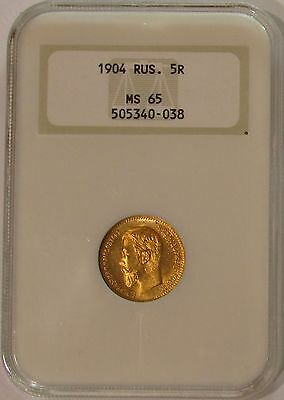 1904 AP NGC MS65 Russia Gold 5 Roubles - Y# 62