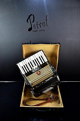 VINTAGE TOP GERMAN PIANO ACCORDION WELTMEISTER-32 BASS,2 sw.+HARD CASE~Akkordeon