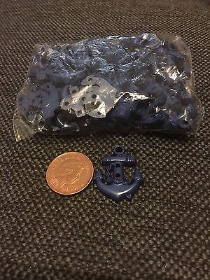 SALE! Navy blue anchor buttons x10 BNIB nautical sailor - craft/dressmaking