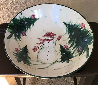Retired Gail Pittman Large SERVING BOWL 2002 Snowman Yuletide Christmas Memories