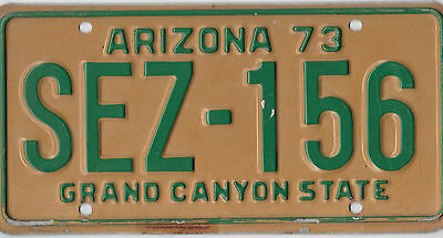 1973 Arizona Green Gold License Plate  # Sez 156  Nice Bcplateman