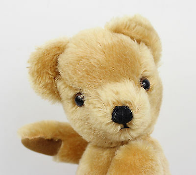 """Vintage MERRYTHOUGHT Golden Plush Mohair Jointed Old Teddy Bear, 11"""" Tall"""