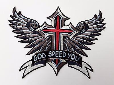 "1 pc GOD SPEED YOU/CROSS/WING BIKER EMB PATCH 12-3/4X9-1/4"" SEW/RON ON"