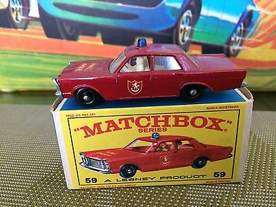 Matchbox Lesney #59 Fire Chief New Old Stock Vintage Never Out Of Box