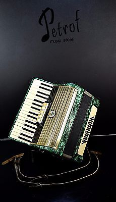 VINTAGE TOP GERMAN PIANO ACCORDION WELTMEISTER 48 bass, 5 registers~PETROF STORE