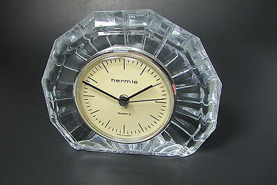 Vintage Mod Glass Hermle Quartz Mantel Table Top Clock Made in Germany