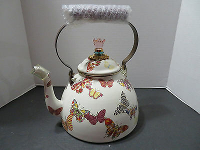 NEW~Mackenzie Childs 3 Qt.Enamel Tea Kettle BUTTERFLY GARDEN WHITE FREE US SHIP*