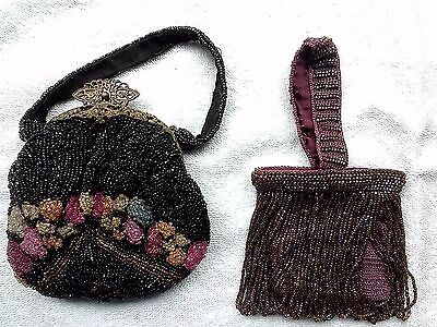 Two Antique Purse Bags Metal Gilded Frame 1900s Vintage Beaded