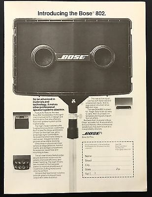 1978 Vintage Print Ad 1970s BOSE 802 Speakers Sound Music Amplified