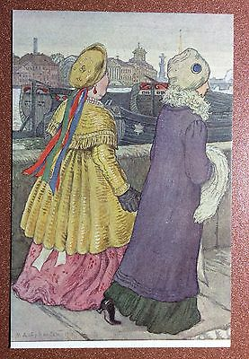 RRR Russian postcard 1910 Red Cross Dobuzhinsky Types Petersbur Mamka nanny Girl
