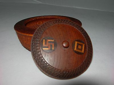 Antique-Vintage Carved Wood Lidded Bowl~SWASTIKA / WHIRLING and SQUARE INLAY LID