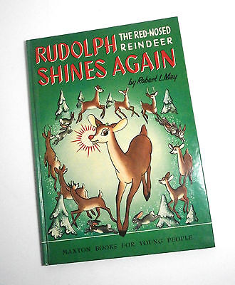 Vintage Rudolph Shines Again BOOK 1954 Robert L May Maxton Publishing Hardcover