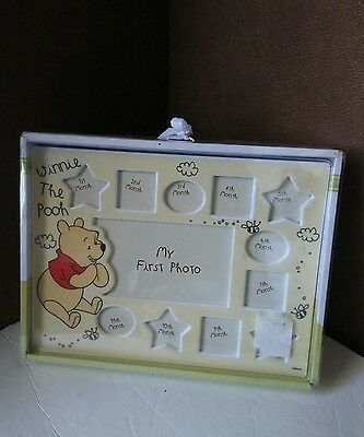 "Disney Winnie the Pooh First Year Photo Frame Nursery 10.5"" x 8"" New Ceramic #32"