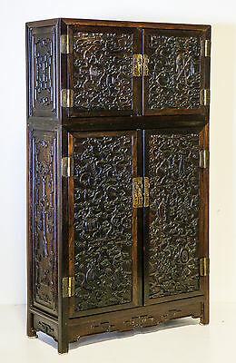 Antique Chinese Zitan Square Corner Cabinet Qing Dynasty