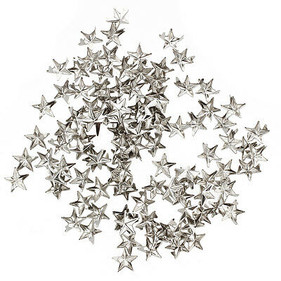 100 X silver star Rivets for bag/shoes/gloves 10mm P5K3
