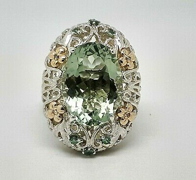 Vintage Art nouveau 14K Gold & Sterling Silver 10TCW Green Amethyst Diamond Ring
