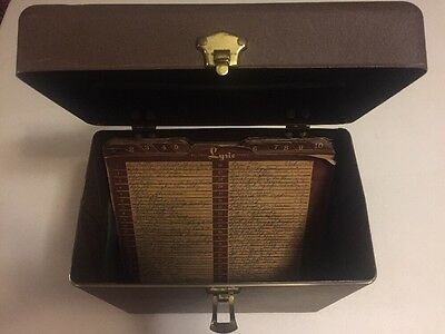 "Vintage Metal 78 RPM 10"" Record Case Carrier Storage Box/Leather Handle/40 tabs"