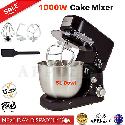 1000W Stand Mixer Black Electric Food Processor Benchtop Dough Hook Whisk Beater