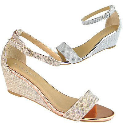 New Womens Glitter Single Band Buckle Ankle Strap Med Low Wedge Heel Pump Sandal