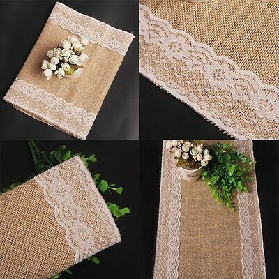 New Burlap Jute Linen And Lace Table Runner Coth Party Garden Wedding Decoration
