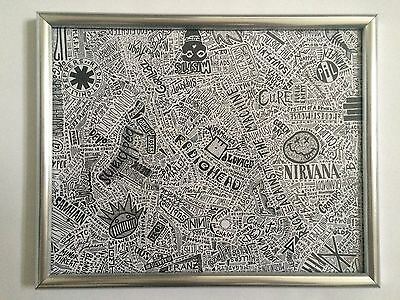 "Punk Bands 20""x16"" Abstract Artwork: Ramones, Arctic Monkeys, Tool"