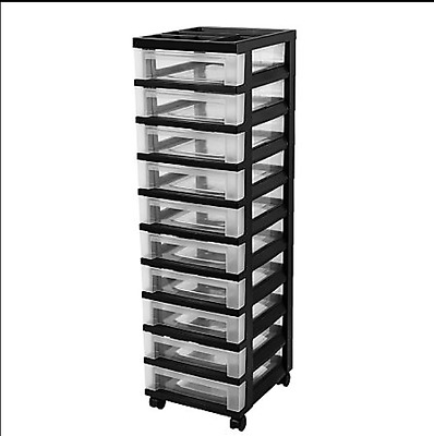 Rolling Storage Cart 10 Drawer w/ Organizer Top Arts Crafts Supplies Home Office