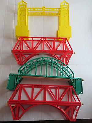 Wooden Train Track Lot of 4 Bridges Red Green Yellow Thomas Brio Compatible