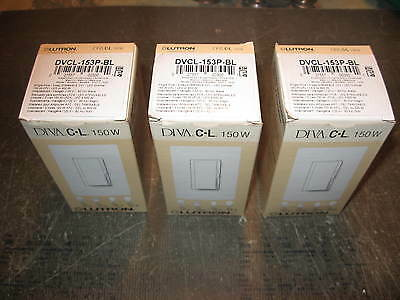 """"""" Lot of 3 """" Lutron Diva Dimmable CFL / LED Dimmer Switches DVCL-153P-BL  Black"""
