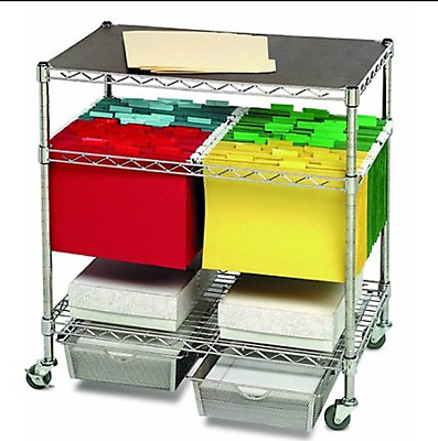 Rolling Storage Office Utility File Cart Organizer 2 Shelves & Drawer Heavy Duty