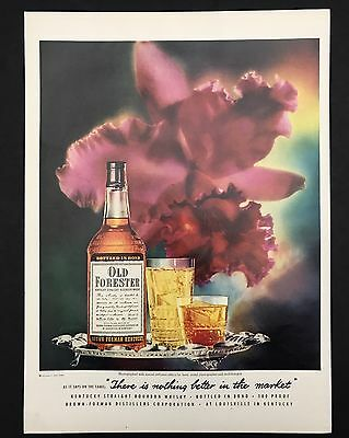 1952 Vintage Print Ad 1950s OLD FORESTER Bourbon Whiskey Flower Silver Tray
