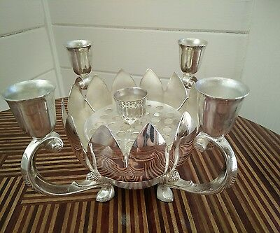 Vintage silver plated candelabra, candle holder with rose bowl , lotus