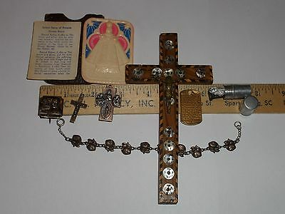 Vintage Religious Lot Catholic Christian Wood Jerusalem Crucifix Bracelet & More