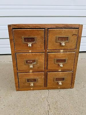 Antique 6 Drawer Card File Library Catalogue Oak Dove Tail Solid Wood Vintage