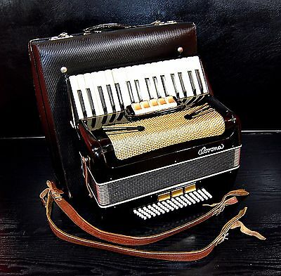 GERMAN VINTAGE TOP PIANO ACCORDION CORONA 80 bass,8 sw.&Org.Case~NEWLY CONDITION
