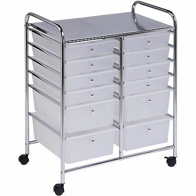 Rolling Utility Storage Cart 12 Drawer File Craft Office Supplies Home Organizer