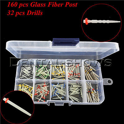 160 PCS Dental Glass Fiber Post Single Refilled Package & Free For 32 PCS Drills