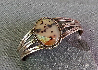Old Vintage Native American Silver Stamped Moss Agate Cuff Bracelet